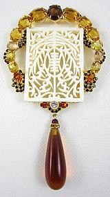Gorgeous Robert Sorrell Pierce Cut Ivory Rhinestone Pin