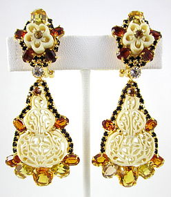 Robert Sorrell Pierce Cut Ivory Rhinestone Earrings