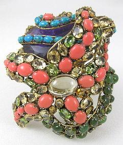 Convertible C&D Gemstone Turtle Starfish Bracelet Pin