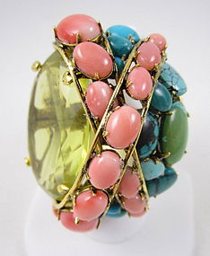 Dramatic C&D Turquoise Coral and Citrine Statement Ring