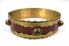 Brown Felipe Barbosa Gold Vermeil Bangle Bracelet