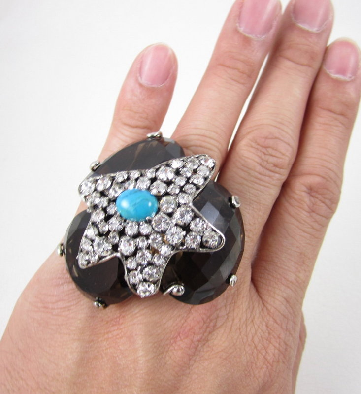 Gorgeous C&D Topaz and Crystal Statement Ring