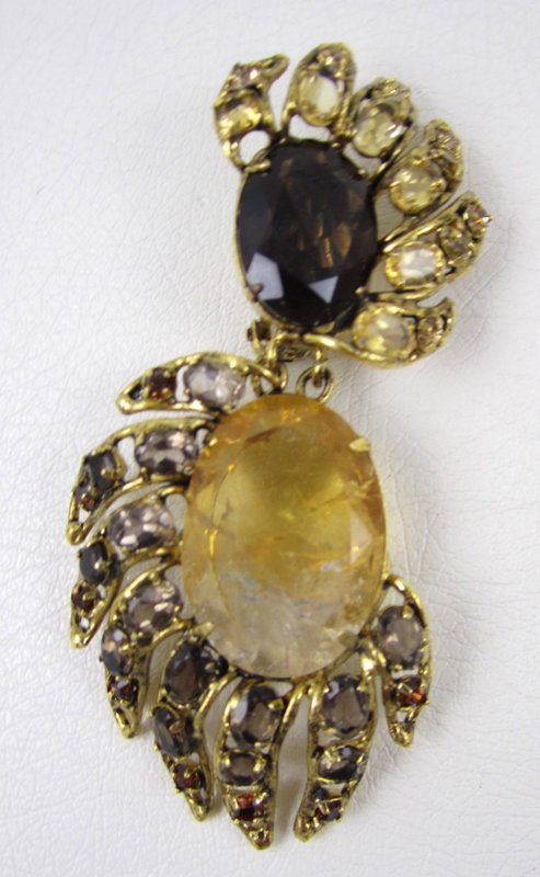 Gorgeous C&D Topaz and Citrine Chandelier Earrings