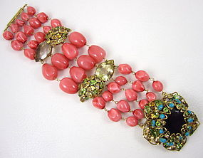 Gorgeous C&D Coral Citrine and Amethyst Bracelet