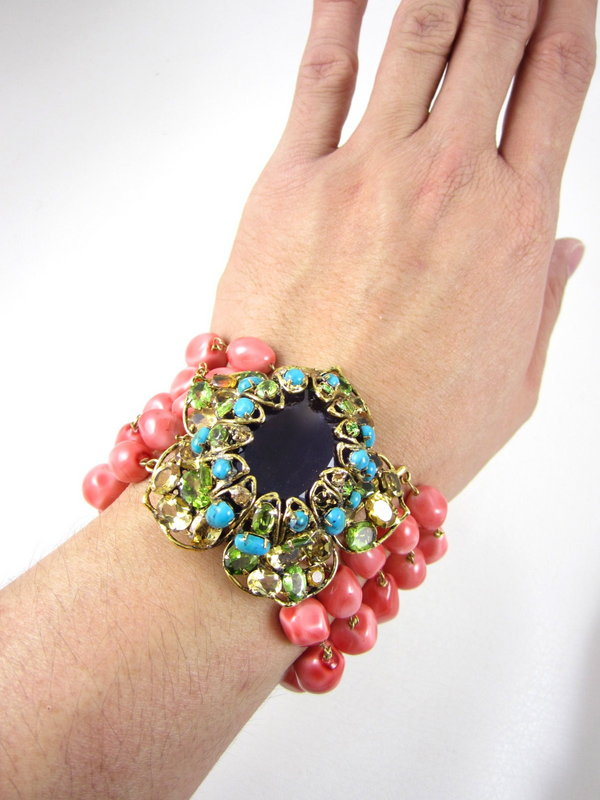 Gorgeous C&D Coral Citrine and Amethyst Bracelet