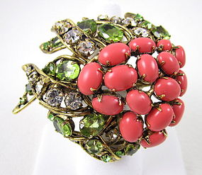 Dramatic C&D Coral and Peridot Statement Ring