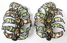 Gorgeous C&D Topaz and Peridot Frond Earrings