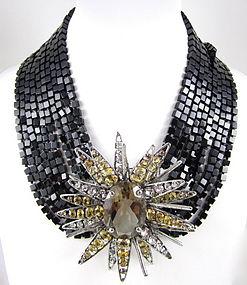 C&D Topaz Citrine Onyx Starburst Convertible Necklace