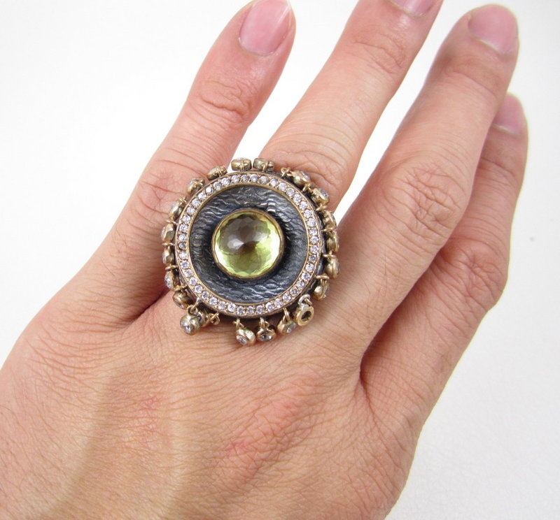 Dramatic Bora Sterling 14k Citrine Dangling Stone Ring