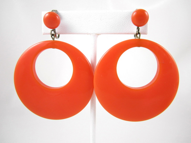 Fiery Orange Bakelite Clip Back Earrings