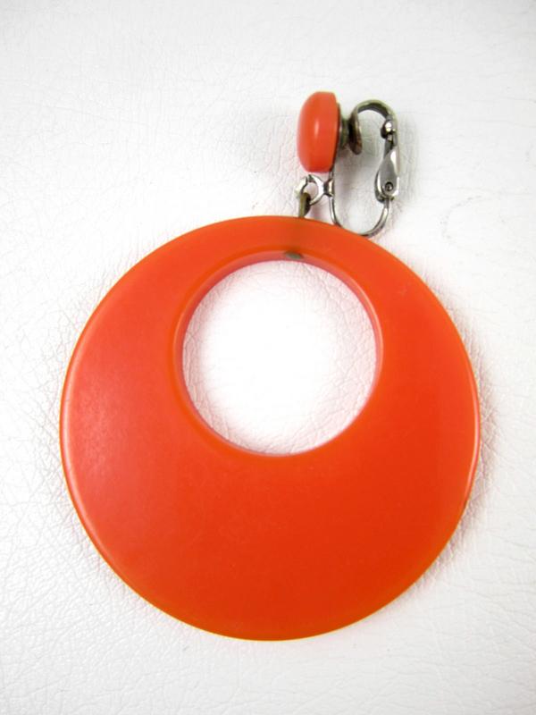 Fiery Orange Bakelite Clip Back Earrings