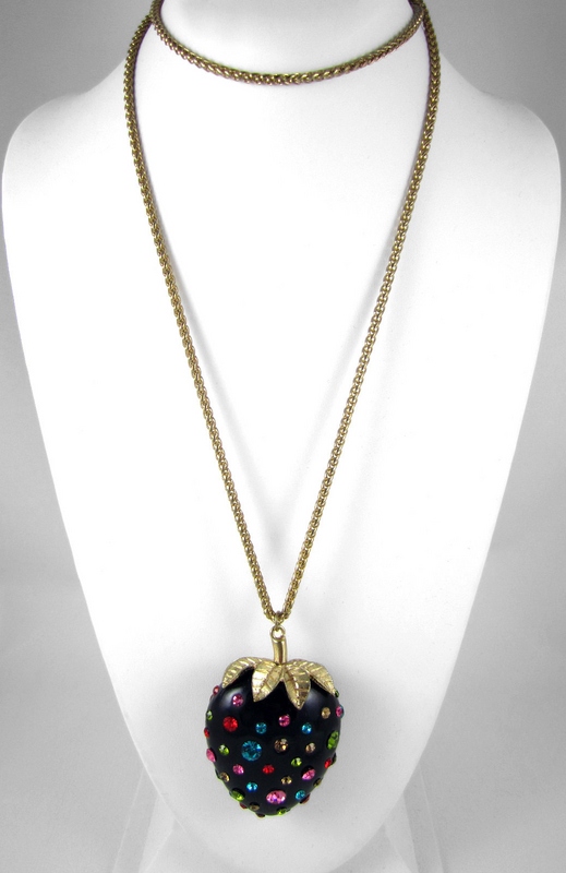 Exquisite Jeweled Black Strawberry Necklace