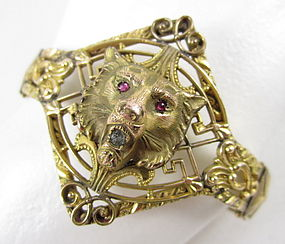 Gorgeous Victorian Gold Fill Garnet Eye Lion Bracelet