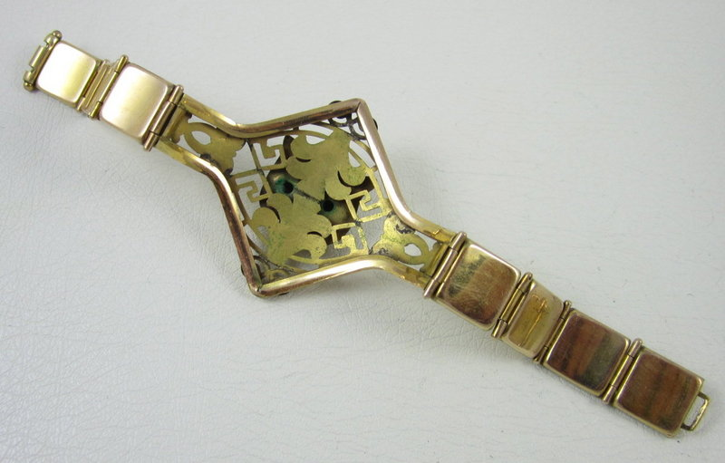 Gorgeous Victorian Gold Fill Garnet Eye Lion Bracelet