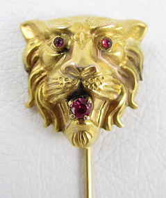 Beautiful Large 14k Ruby Garnet Lion Stick Pin