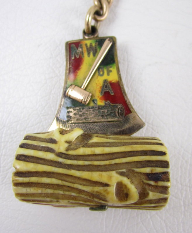 Modern Woodmen of the World Gold Fill Ivory Fob