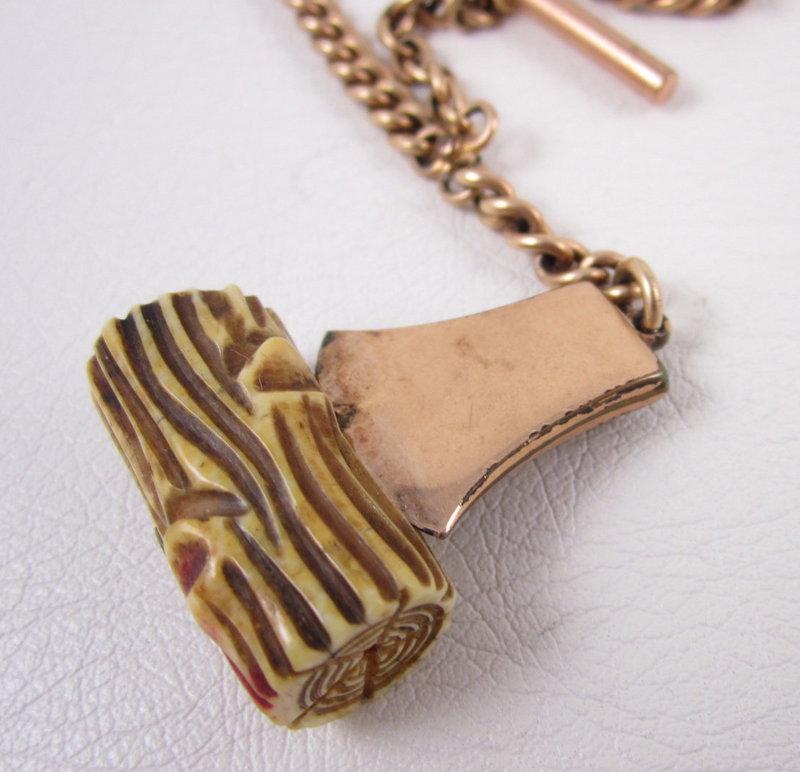 Modern Woodmen of the World Gold Fill Ivory Fob