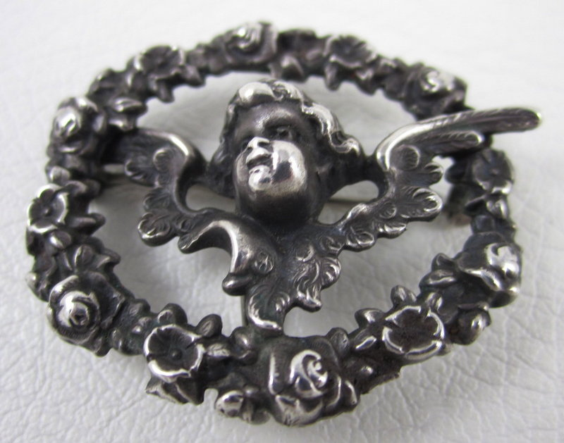 Charming William Kerr Art Nouveau Cherub Watch Pin