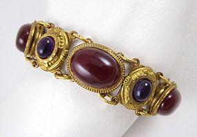 Elegant Patrice Brass & Glass Cabochon Bracelet