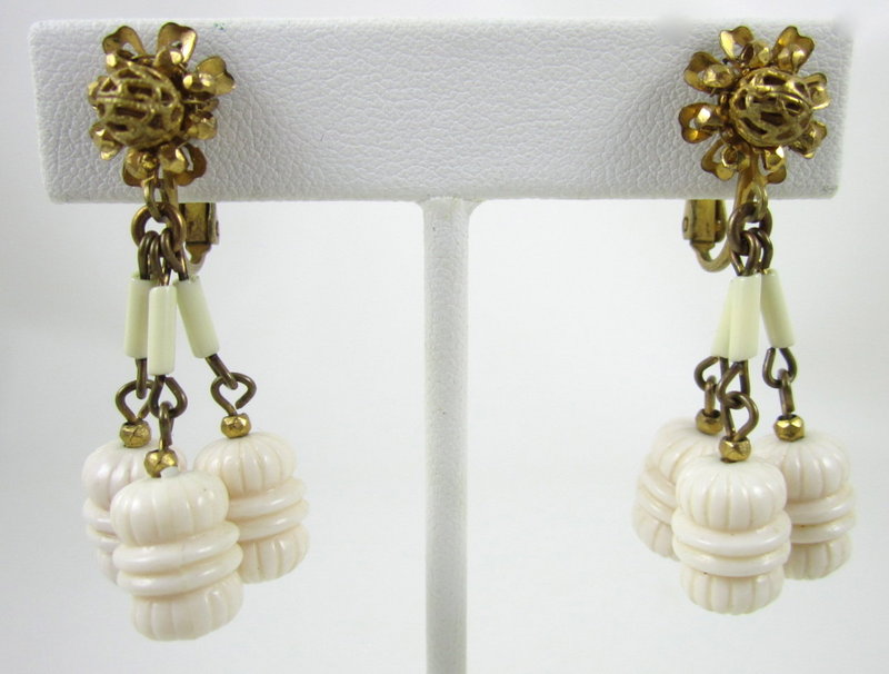 Lovely Miriam Haskell Ivory Bead Dangle Earrings