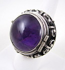 Beautiful Sterling Amethyst Mexican Silver Poison Ring