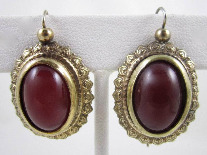 Lovely Victorian Gold Fill Carnelian Earrings