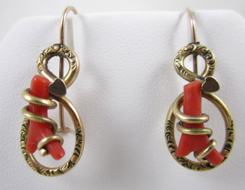 Lovely Victorian Gold Fill Coral Dangling Earrings