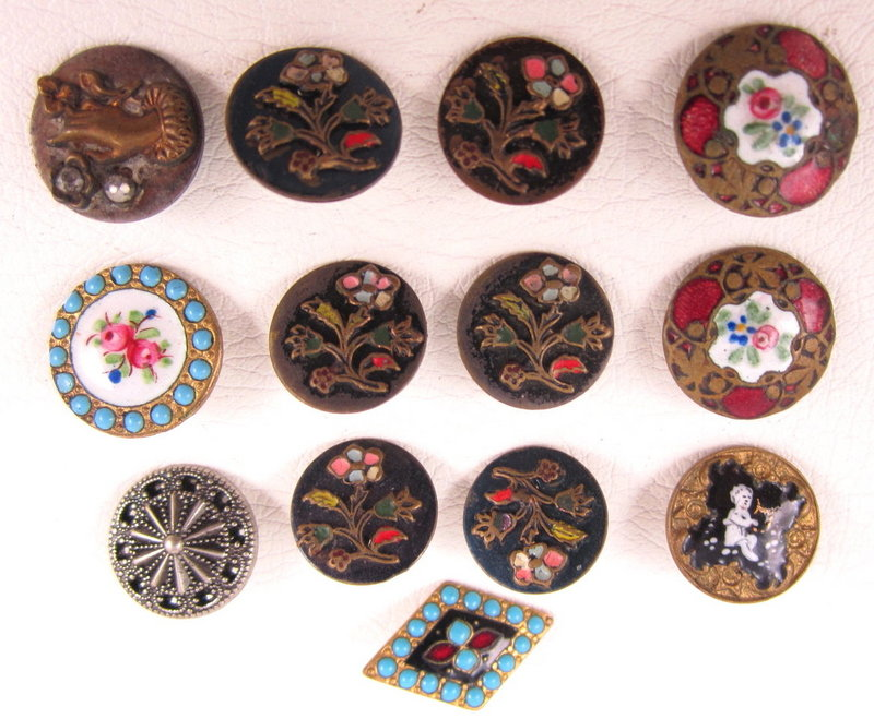 Collection of 13 Victorian Enamel & Stone Buttons