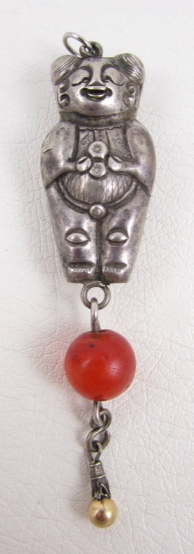 Unusual Chinese Sterling Repousse Carnelian Pendant