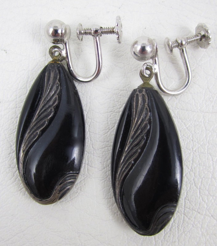 Lovely Vintage Jet Sterling Overlay Dangling Earrings