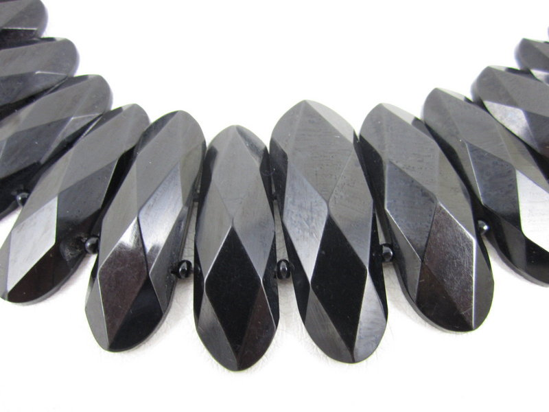 Elegant Faceted Whitby Jet Victorian Bib Necklace