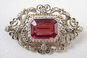Rhodolite Garnet 14k Sterling Mine Cut Diamond Pin