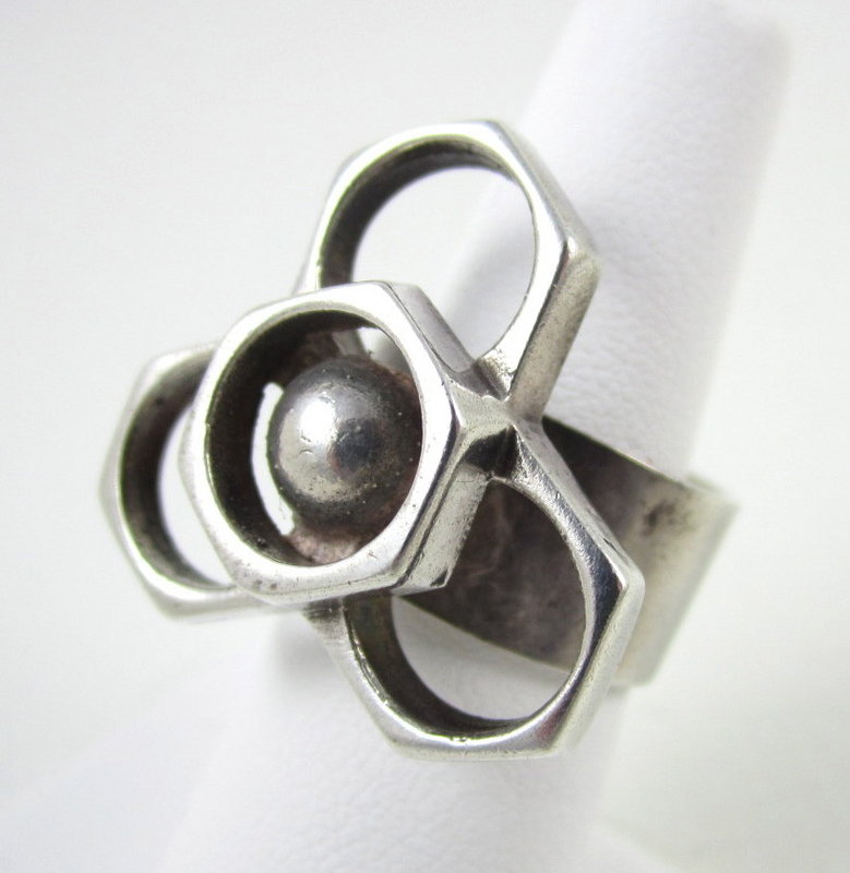 "Unusual Sheffield England Sterling ""Nuts"" Ring"