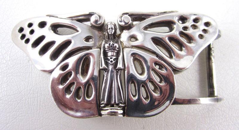 Lovely Kieselstein Cord Sterling Butterfly Belt Buckle