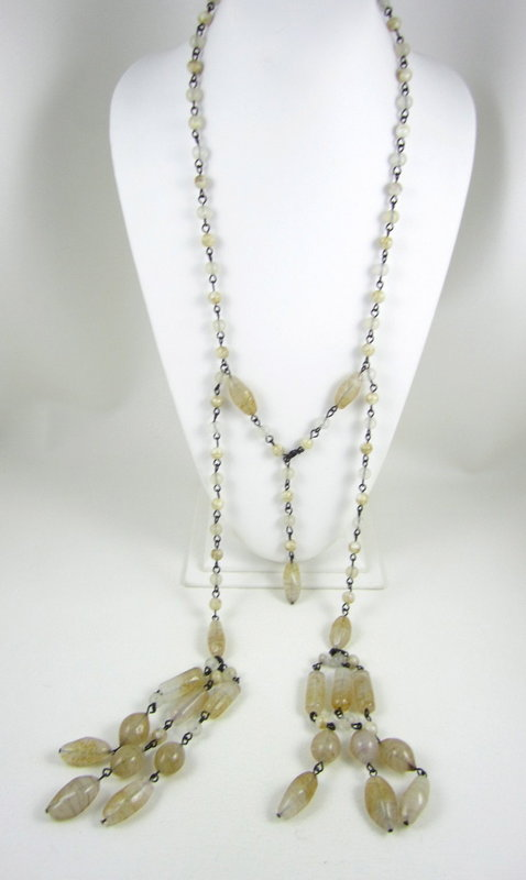 Vintage Giorgio Armani Beige Bead Necklace & Earrings