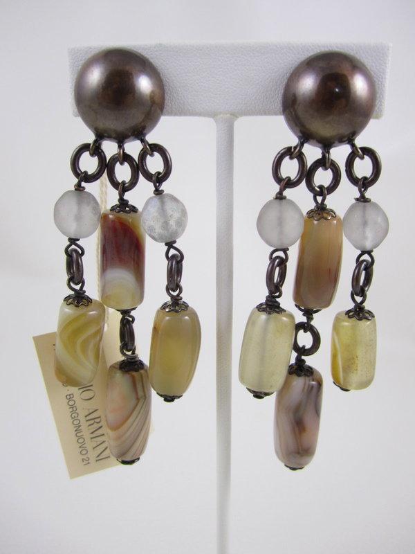 Vintage Giorgio Armani Beige Bead Necklace & Earrings