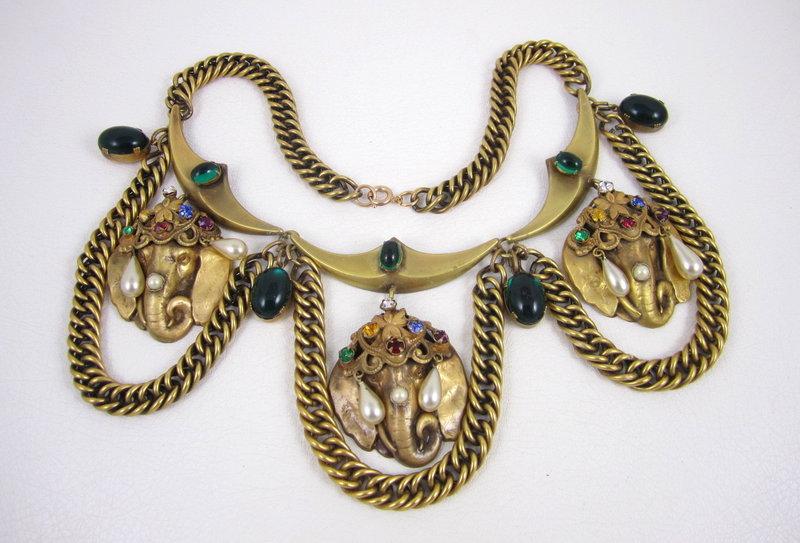 Fabulous Joseff of Hollywood Elephant Bib Necklace