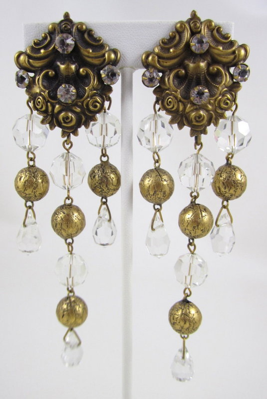 Dazzling Joseff of Hollywood Brass & Crystal Earrings