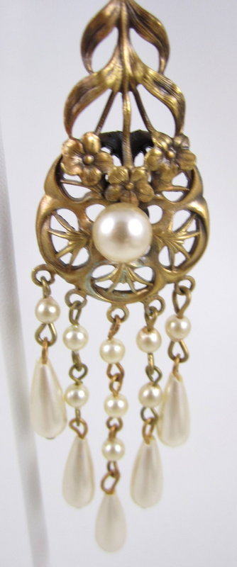 Grace Kelly Joseff of Hollywood Brass Pearl Earrings