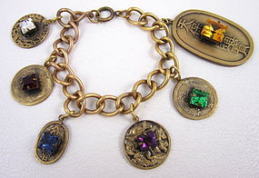 Unusual Joseff of Hollywood Chinoiserie Charm Bracelet