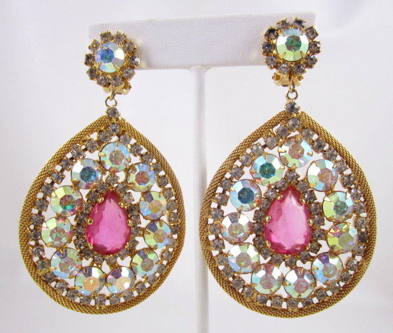 Dramatic Vintage Kenneth Jay Lane Pendant Earrings