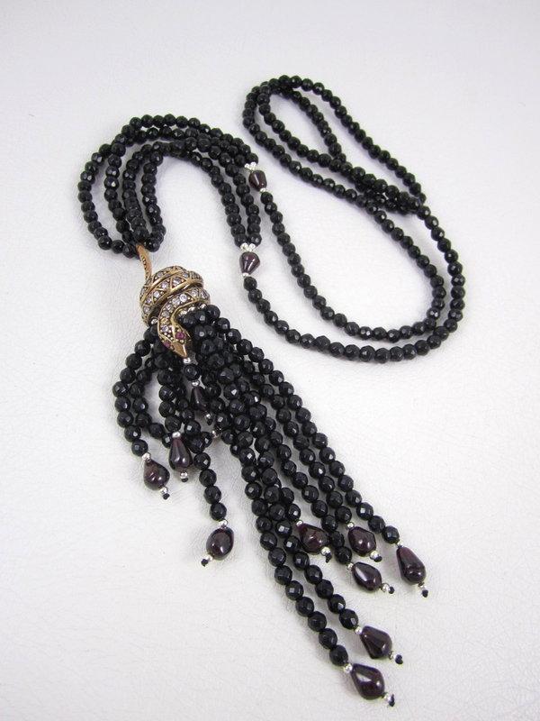 Elegant Snake Tassel Necklace with Jet Garnet & Crystal