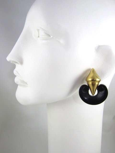 Patricia Von Musulin Ebony Gilt Sterling Earrings