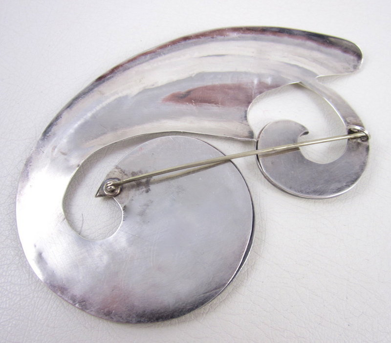 Amazing Sterling Oversized Modernist Scroll Pin