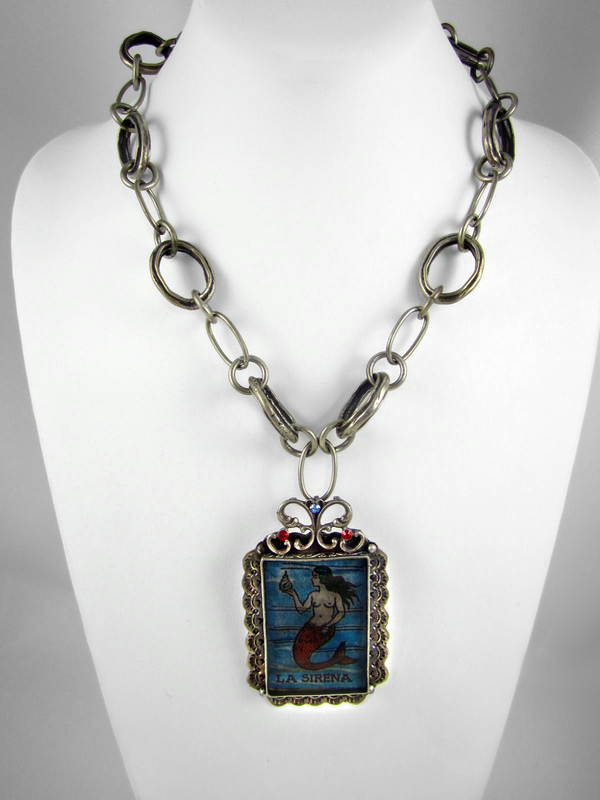 Enchanting Barbosa La Sirena (Mermaid) Loteria Pendant