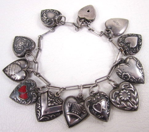 Vintage Sterling Silver 13 Charm Puffy Heart Bracelet