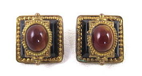 Beautiful Patrice Brass & Glass Earrings