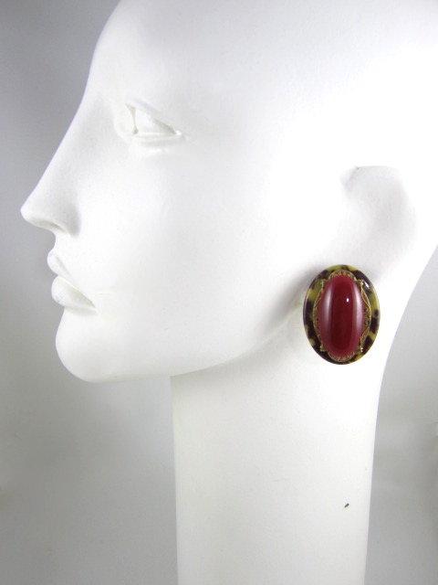 Beautiful Large Patrice Brass & Glass Clip Earrings