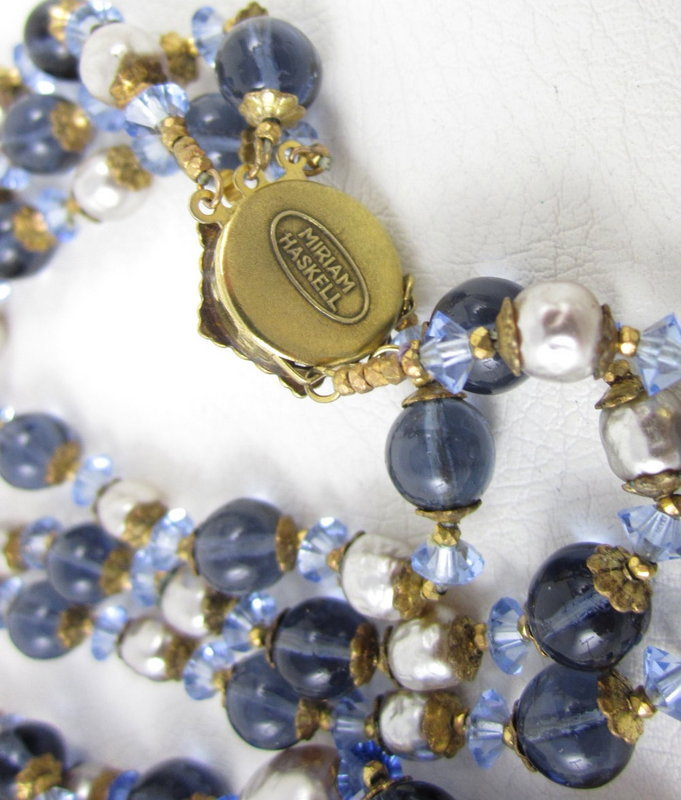 Lovely Miriam Haskell Blue Glass Bead Pearl Necklace
