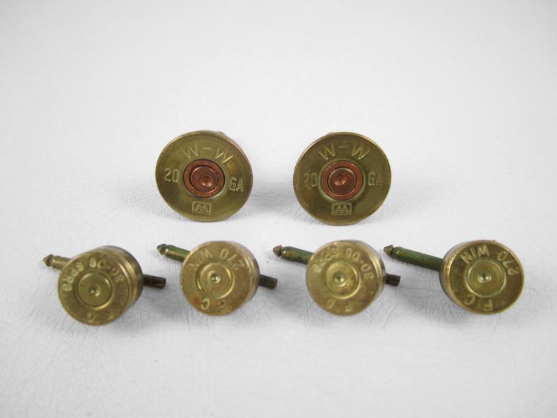 Charming Bullet Casing Cufflinks & Studs Set